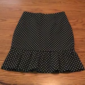 WHBM Fit and Flare Polka Dot Pencil Skirt
